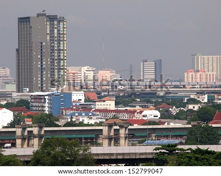 Bangkok cityscape/landscape view showing modern style building in city life environment and express way street running around