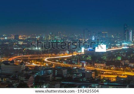 Bangkok cityscape with highway at twilight, thailand