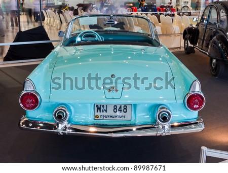BANGKOK-DEC 01: Classic car Ford Thunderbird made in USA, year 1955 Display at Thailand International Motor Expo 2011  December 01 -  in Bangkok, Thailand - stock photo