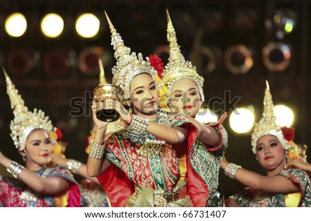 BANGKOK - DEC 5: Khon -Thai classical masked ballet on Dec 05, 2010 H.M.the king bhumipol's birthday, in dusit throne-hall field, Bangkok, Thailand. Ramayana - The fairy bless to Rama - stock photo