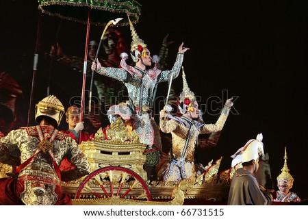 BANGKOK - DEC 5: Khon-Thai classical masked ballet on Dec 05, 2010 H.M.the king bhumipol's birthday, in dusit throne-hall field, Bangkok, Thailand. Ramayana - Rama mobilise to war with Ravana - stock photo
