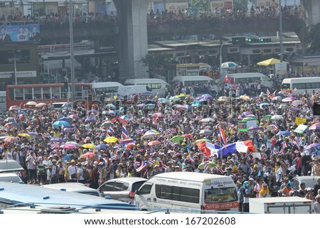 BANGKOK - DEC 9: 5 million people walked for anti government corruption on Jun 09, 2013 in Bangkok, Thailand. The protesters wanted Yingluck Shinawatra Prime Minister to resign.