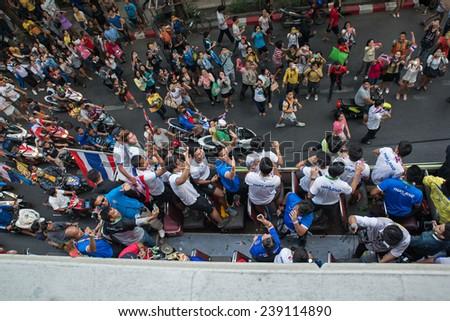 Bangkok -DEC.21 : Thailand many fans celebrate football championship parade  of AFF Suzuki cup Champions 2014 on December 21, 2014 in Bangkok, Thailand. - stock photo