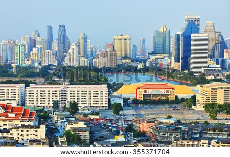 BANGKOK, December 25 : Bangkok view from Abandoned building in the Khlong Toei on December 25, 2015. Bangkok is the capital and the most populous city of Thailand.