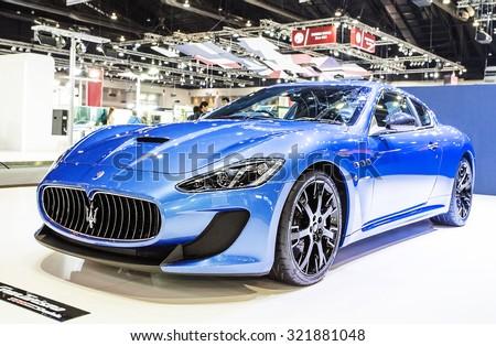 Bangkok - December 28 : Blue Maserati series  Gran Turismo - in display at Thailand international motor expo 2014 on December 28, 2014 in Bangkok Thailand  - stock photo