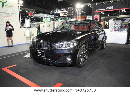 BANGKOK - December 1: BMW 118i car on display at The Motor Expo 2015 on December 1, 2015 in Bangkok, Thailand.