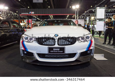 Bangkok-December1:BMW 420i Gran Coupe thailand international motor expo2015(MOTOR EXPO 2015) exhibition of vehicles for sale on December1, 2015 in Bangkok, Thailand.