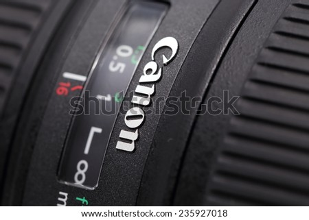 BANGKOK - DECEMBER 7 : close up image of canon logo on canon lens  on December 7, 2014,  in Bangkok, Thailand.