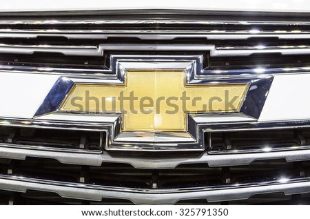 Bangkok - December 28 :close up logo of Chevrolet on front grill - in display at Thailand international motor expo 2014 on December 28, 2014 in Bangkok Thailand  - stock photo