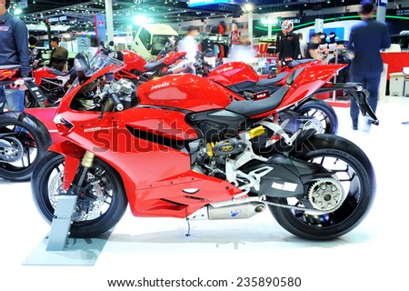BANGKOK - DECEMBER 04, 2014:  Ducati 1199 panigale motorcycle  on display