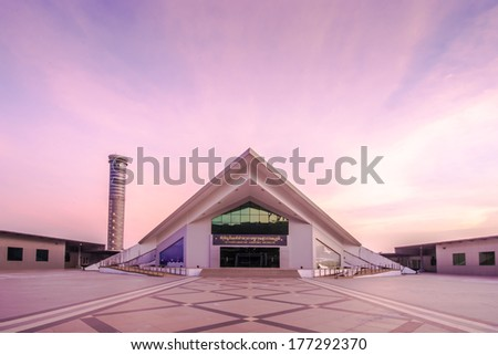 BANGKOK-DECEMBER 02 : Flight control tower at sunrise in Suvarnabhumi Airport on December 02, 2013 in Bangkok,Thailand.Th is airport is the world's third largest single building airport terminal . - stock photo