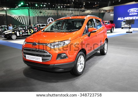 BANGKOK - December 1: Ford Ecosport car on display at The Motor Expo 2015 on December 1, 2015 in Bangkok, Thailand.
