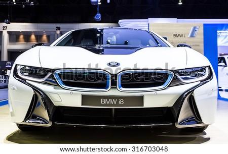 Bangkok - December 28 : front grill of  BMW series I8 - in display at Thailand international motor expo 2014 on December 28, 2014 in Bangkok Thailand  - stock photo