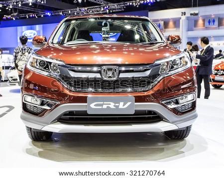 Bangkok - December 28 : front grill of  Honda series CR-V - in display at Thailand international motor expo 2014 on December 28, 2014 in Bangkok Thailand  - stock photo