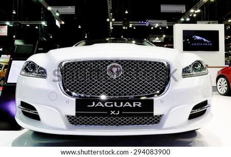 Bangkok - December 28 : front grill of  Jaguar series XJ  Premium luxury LWB 2.0L TI - in display at Thailand international motor expo 2014 on December 28, 2014 in Bangkok Thailand  - stock photo