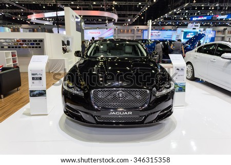 Bangkok-December1:Jaguar thailand international motor expo2015(MOTOR EXPO 2015) exhibition of vehicles for sale on December1, 2015 in Bangkok, Thailand.