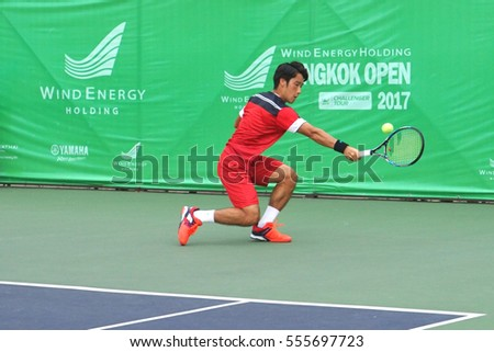 BANGKOK - December 31,2016-4 January 2017:     Yuichi Sugita (Japan)  ATP TOUR WIND ENERGY HOLIDING   at Rama Gardens Hotel on December 31, 2016 in Bangkok, Thailand.