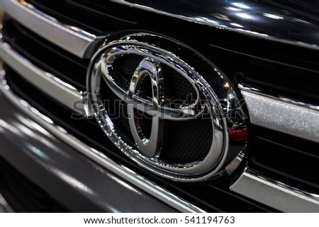 BANGKOK - December 8 : Logo of Toyota car on display at  motor expo on Dec 8, 2016 in Nonthaburi, THAILAND