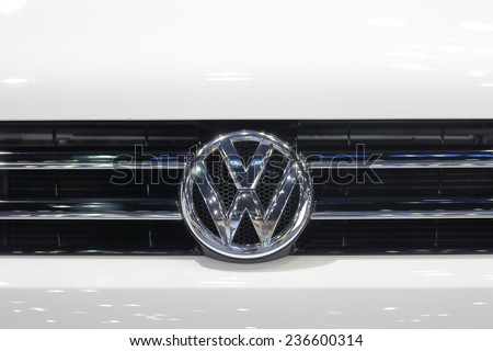 BANGKOK - DECEMBER 9 : Logo of Volkswagen displayed in Motor Expo 2014, on dec. 9, 2014 in Bangkok, Thailand. - stock photo