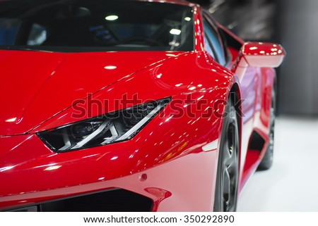 BANGKOK - DECEMBER 8 : Lumborghini displayed at Thailand International Motor Expo2015, exhibition of vehicles for sale on December 8, 2015 in Bangkok, Thailand. - stock photo