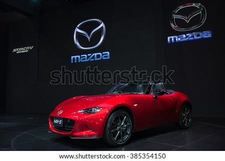 BANGKOK - December 1, 2015 : Mazda MX5 car on display at Thailand International Motor Expo 2015, exhibition of vehicles for sale on December 1, 2015 in Bangkok, Thailand.  - stock photo