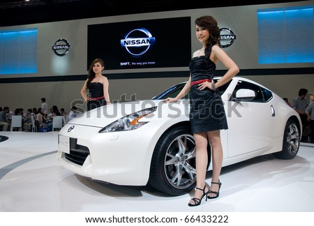 BANGKOK - DECEMBER 2: Nissan showing the latest version of the 370Z sports-car at Motor Expo, Impact on December 2, 2010 in Bangkok, Thailand.