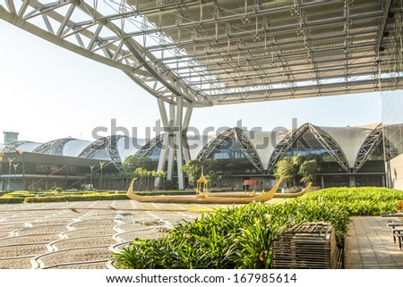 BANGKOK-DECEMBER 18 : Suvarnabhumi Airport at morning on December 18, 2013 in Bangkok ,Thailand. This airport is the world's third largest single building airport terminal designed by Helmut Jahn. - stock photo