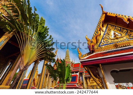 BANGKOK - DECEMBER 16: temple Wat Phra Kaew on December 16, 2014 in Bangkok. Wat Phra Kaew or Wat of the Emerald Buddha is regarded as the most sacred Buddhist temple in Thailand - stock photo