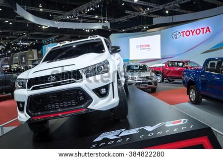 BANGKOK - December 1, 2015 : Toyota car on display at Thailand International Motor Expo 2015, exhibition of vehicles for sale on December 1, 2015 in Bangkok, Thailand. - stock photo