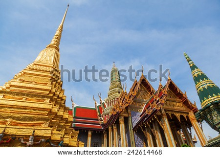 BANGKOK - DECEMBER 16: Wat Phra Kaew on December 16, 2014 in Bangkok. Wat Phra Kaew or Wat of the Emerald Buddha is regarded as the most sacred Buddhist temple in Thailand - stock photo