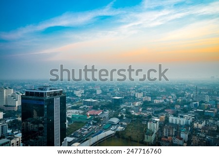 Bangkok downtown city in morning, sky and cloud Thailand - stock photo