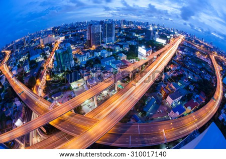 Bangkok Expressway and Highway top view during twilight time , Thailand - stock photo