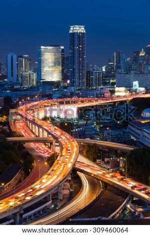 Bangkok Expressway and Highway top view, Thailand - stock photo