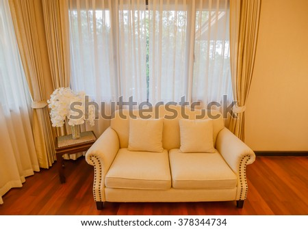 BANGKOK - FEB,18 : A classic Sofa in a luxury interior home that made of wood .THAILAND FEB,18 2016 - stock photo