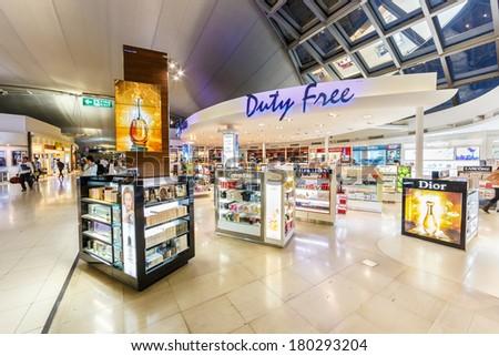 BANGKOK- FEB 10 : Duty free shop at Suvanaphumi Airport, Bangkok on Feb 10, 2014. Suvarnabhumi airport is world's 4th largest single-building airport terminal. - stock photo