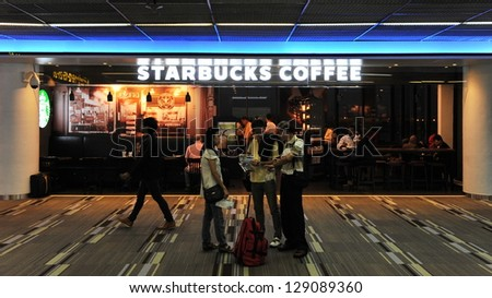 BANGKOK - FEB 10: Exterior of a Starbucks store at Don Muang Airport on Feb 10, 2013 in Bangkok, Thailand. Starbucks is the world's largest coffeehouse company with over 20,000 stores in 61 countries.
