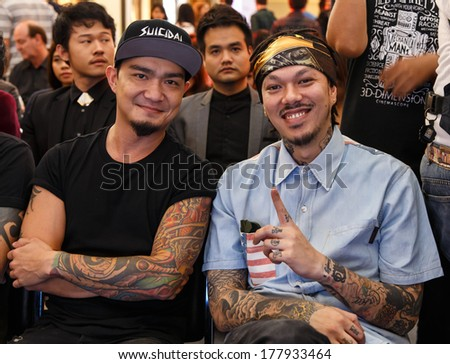 BANGKOK - FEBRUARY 19 2014: Dandee (Lead Vocalist with Project E.A.R) at MTV Exit Press Conference held in Central World Plaza Bangkok for upcoming charity concert in Udon Thai, Thailand - stock photo