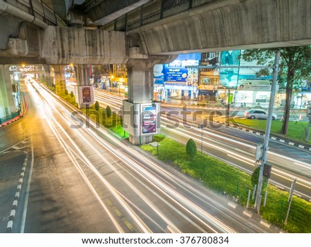 BANGKOK - FEBRUARY 8: Long exposure technique for traffic car light movement in Bangkok, Thailand, was taken on February 8, 2016. - stock photo
