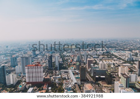 BANGKOK FEBRUARY 7 2016 : top view of sathorn district, sathorn district is one of 50 districts of Bangkok it bound by six other districts,large area and population. Bangkok Thailand.