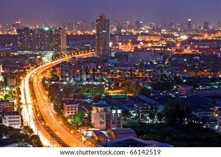Bangkok Freeway to City Top View at dusk in bangkok, Thailand - stock photo