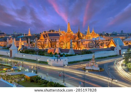 bangkok HDR image,Grand palace at twilight in Bangkok, Thailand - stock photo