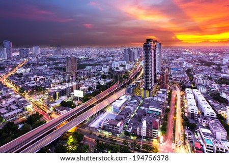 Bangkok Highway at Dusk, Bangkok with the light of sunset (Thailand) - stock photo