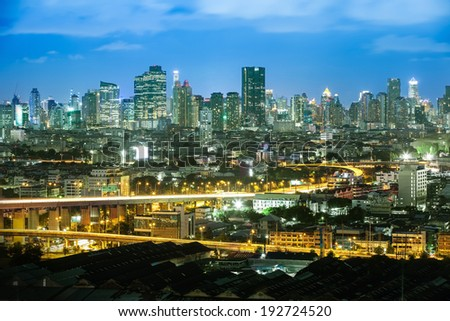 Bangkok Highway at Dusk with the business district (Thailand)