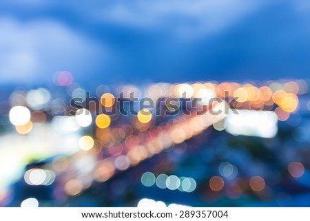 Bangkok highway with defocused bokeh lights as abstract background, - stock photo
