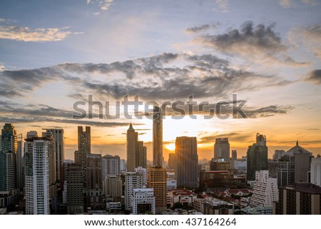 Bangkok in the evening sunset. Panoramic and perspective view light blue background of glass high rise building skyscraper commercial of future. Business concept of success industry tech architecture - stock photo