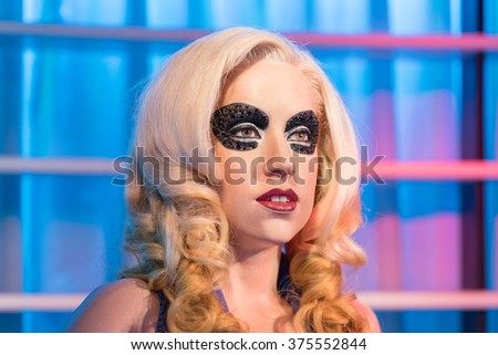 BANGKOK - JAN 29: A waxwork of Lady gaga on display at Madame Tussauds on January 29, 2016 in Bangkok, Thailand. Madame Tussauds' newest branch hosts waxworks of numerous stars and celebrities - stock photo