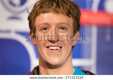 BANGKOK - JAN 29: A waxwork of Mark Zuckerberg on display at Madame Tussauds on January 29, 2016 in Bangkok, Thailand. Madame Tussauds' newest branch hosts waxworks of numerous stars and celebrities - stock photo