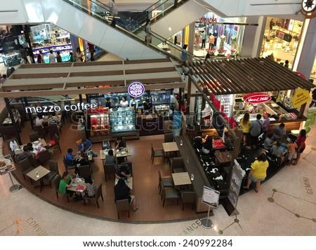 BANGKOK  02 JAN 2014 : Many people drinking coffee in coffee shop at Central RAMA II Bangkok Thailand  - stock photo