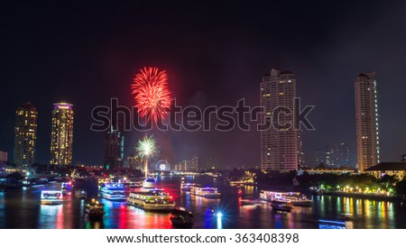 BANGKOK - JANUARY 01: ASIATIQUE The Riverfront Show an Firewors in on January 01, 2016.