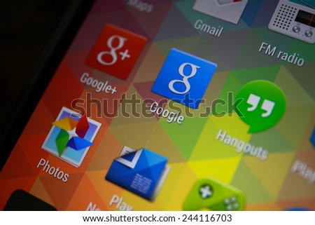BANGKOK-JANUARY11 2015: Google Icon on Phone.  Google is a United States-headquartered, multinational corporation specializing in Internet-related services and products